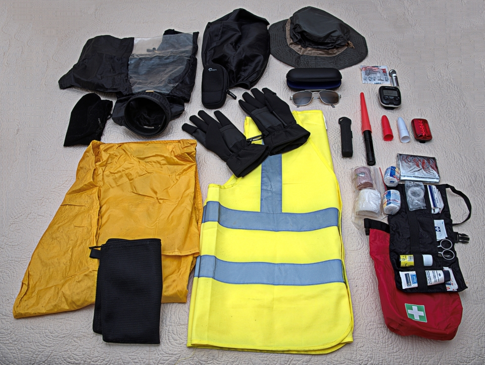 Comfort and safety equipment spread out